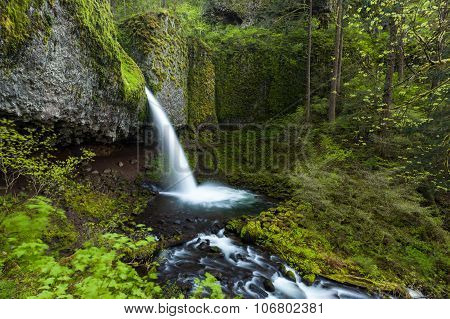 Upper Ponytail Falls In Columbia River Gorge, Oregon