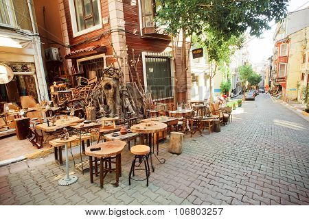 Antique Store With Wooden Furniture On The Empty Street