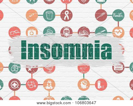 Health concept: Insomnia on wall background