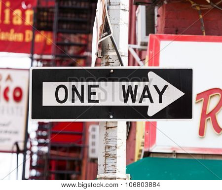 One Way Street Sign In New York City