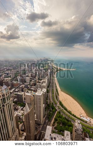 Chicago Skyline And Lake Michigan From Above