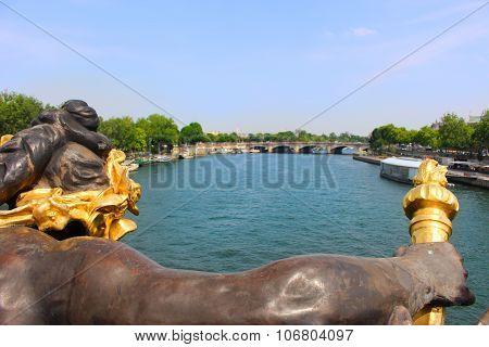 Paris France Bridge Statue