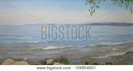 Baltic sea with a boat