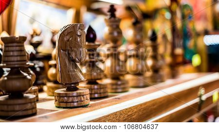 wooden chess on a board