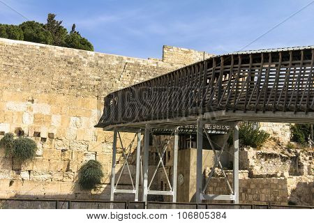 Rickety Wooden Bridge - The Only Way To The Temple Mount To Jews And Christians