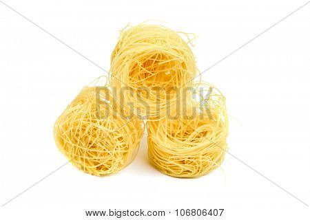 Nest pasta. View from side. Isolated on white background