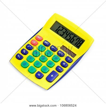 Modern calculator yellow colored isolated on white