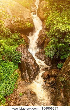 Beautiful river landscape and rocks in Nepal, Annapurna trekking