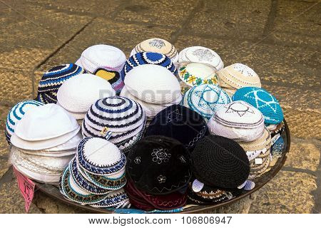 Jewish Religious Caps (yarmulke) On The Market In Jerusalem, Israel