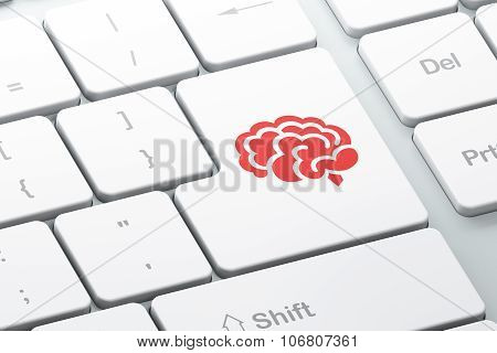 Science concept: Brain on computer keyboard background