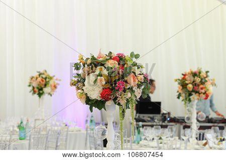 bouquet of flowers  wedding tent