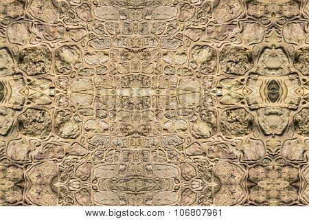 Abstract Decorated Stone Wall  As Background