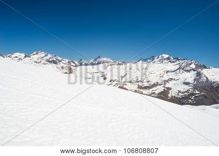 Majestic Mountain Peaks In Winter In The Alps