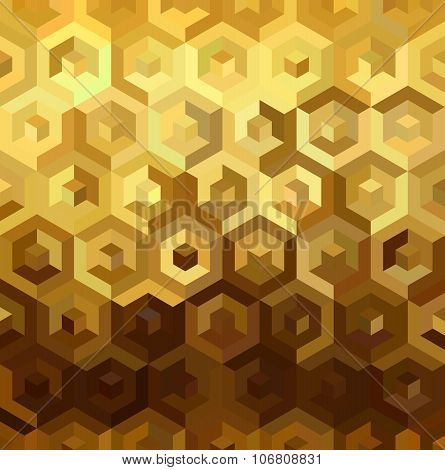 Gold Isometric 3D Cube Seamless Pattern Low Poly