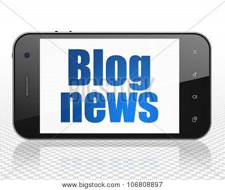 News concept: Smartphone with Blog News on display