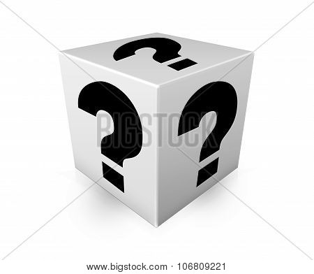 Black Question Marks On White Box. Illustration