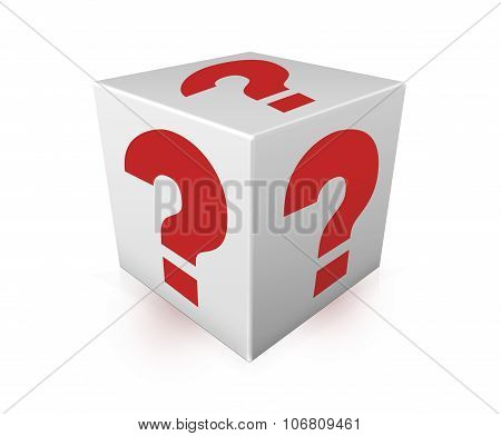Red Question Marks On White Box. Illustration