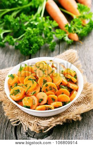 Vegetables Salad With Carrot And Green Herbs
