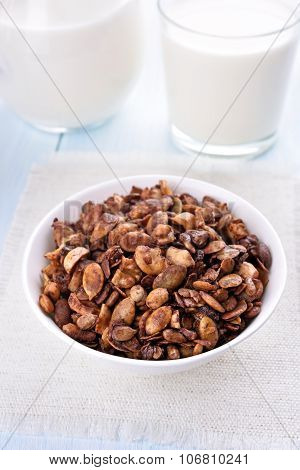 Breakfast Chocolate Granola And Milk