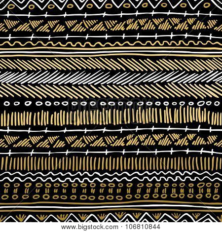 Gold Boho Seamless Pattern Retro Tribal Background