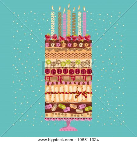 Big Multilayer Cake With Candles And Berries.