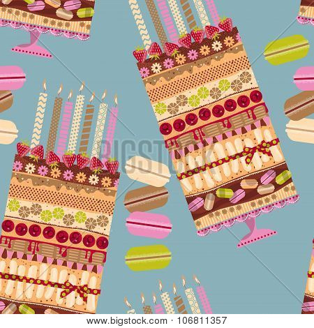 Big Multilayer Cake With Candles And Macaroons. Seamless Background Pattern.