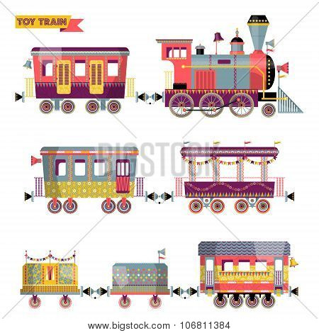 Toy Train. Locomotive With Several Multi-colored Coaches.