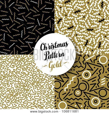 Merry Christmas Pattern Set Gold Retro 80S Holiday