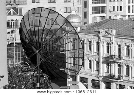 Satellite Dish On The Roof In Kiev Shopping Center
