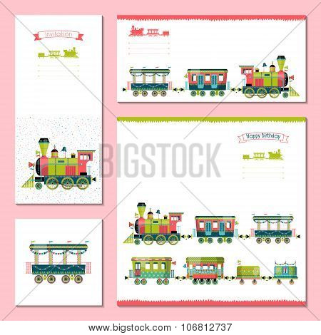4 Universal Cards With Toy Train. Template. Birthday, Anniversary, Children's Party, Invitation, Spe