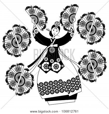 Woman Performing Traditional Korean Fan Dance. Korean Tradition. Black And White.