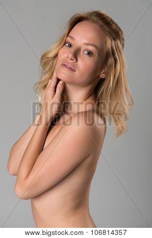 Nude Blonde On Gray