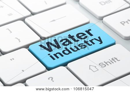 Manufacuring concept: Water Industry on computer keyboard background