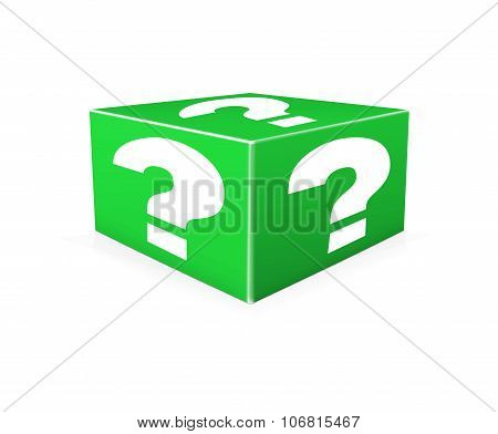 White Question Marks On Green Box. Illustration