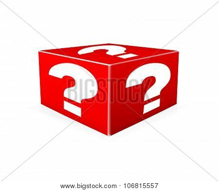 White Question Marks On Red Box. Illustration
