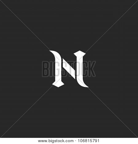 N Logo Letter, Mockup Medieval Design Element, Black And White Old Style Emblem For Wedding Invitati