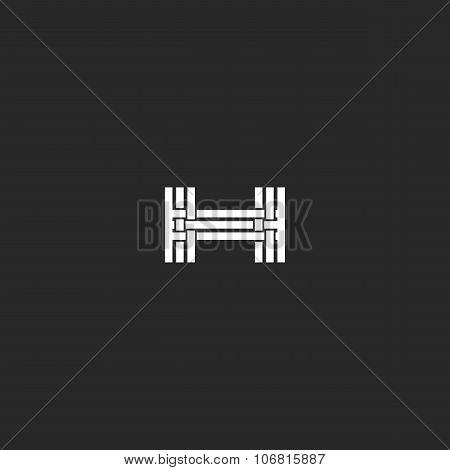 Monogram Letter H Logo, Interlacing Thin Line Design Element, Mockup Wedding Invitation Or Business