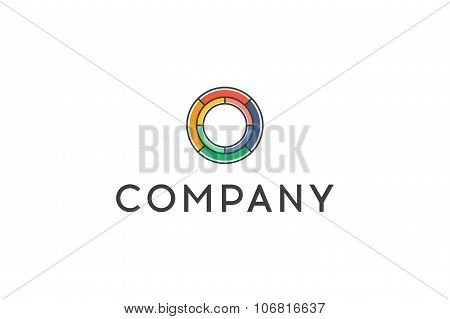 Circle Logo. Line Art Design. Stock Vector.