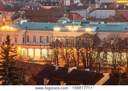 Vilnius, Lithuania: Aerial View of Presidential Palace