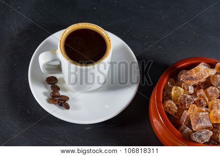 Expresso Coffee With Beans By German Rock Sugar Brauner Kandis In Bowl