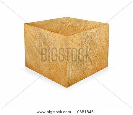 Wooden Cube Isolated On A White.