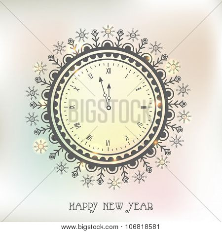 Beautiful floral design decorated clock showing almost Twelve 'O' clock for Happy New Year celebration.