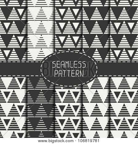 Set of line polygon abstract hipster seamless pattern with triangle. Geometric figures. Wrapping pap