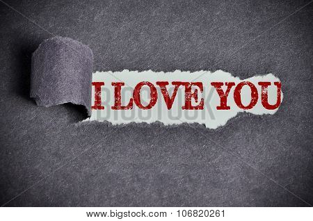 I Love You Word Under Torn Black Sugar Paper