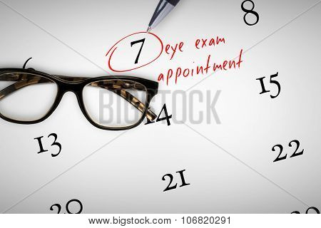 eye exam appointment against reading glasses