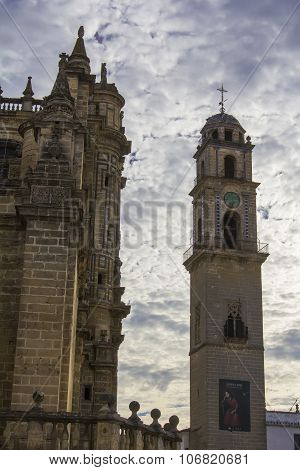 background cityscape view of the Gothic Cathedral in the city of Jerez de la Frontera
