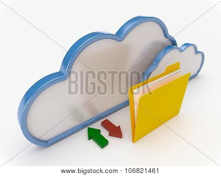 Cloud Computing With Yellow Folder