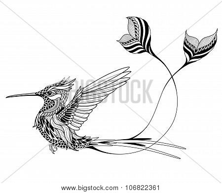 Bird tattoo. psychedelic, zentangle style. vector illustration