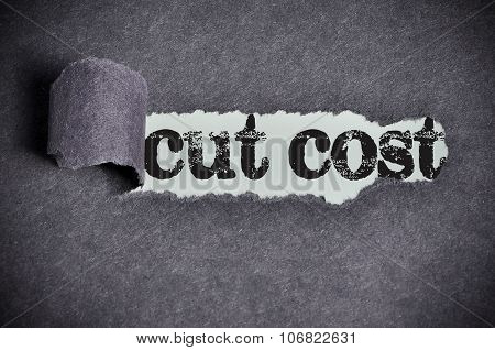 Cut Cost Word Under Torn Black Sugar Paper