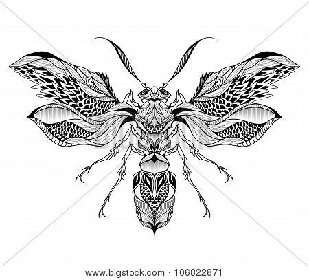 Bee / Wasp tattoo. psychedelic, zentangle style. vector illustration